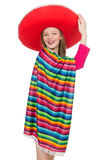 Pretty girl in mexican poncho isolated on white Royalty Free Stock Photography