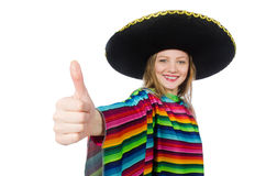 Pretty girl in mexican poncho isolated on white Royalty Free Stock Photo