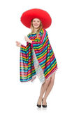 Pretty girl in mexican poncho isolated on white Stock Photos