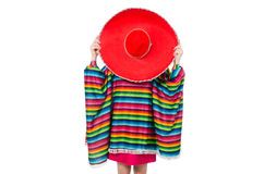 Pretty girl in mexican poncho isolated on white Royalty Free Stock Images