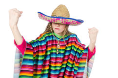 Pretty girl in mexican poncho isolated on white Royalty Free Stock Photos