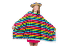 Pretty girl in mexican poncho isolated on white Stock Image