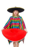 Pretty girl in mexican poncho Stock Photos