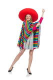Pretty girl in mexican poncho isolated on white Royalty Free Stock Image