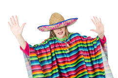 Pretty girl in mexican poncho isolated on white Stock Images