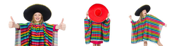 The pretty girl in mexican poncho isolated on white Stock Images