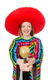 Pretty girl in mexican poncho singing isolated on Royalty Free Stock Images