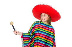 Pretty girl in mexican poncho singing isolated on Stock Image