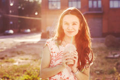 Pretty girl with milk shake Royalty Free Stock Photography