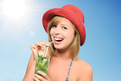 Pretty girl with mojito Royalty Free Stock Image