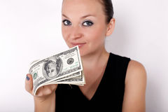Pretty girl with money Royalty Free Stock Image