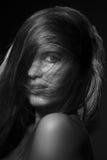 Pretty girl monochrome Stock Images