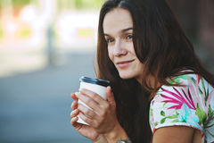 Pretty girl with morning coffee Royalty Free Stock Photo