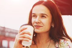 Pretty girl with morning coffee Stock Photos