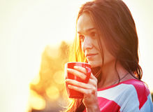 Pretty girl with morning coffee Royalty Free Stock Images
