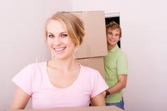 Pretty girl movingin with boyfriend Stock Photo