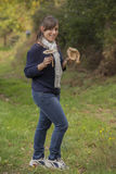 Pretty girl with mushrooms in her hands Royalty Free Stock Photo