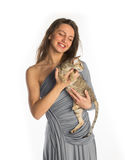 Pretty girl in night dress with cat Royalty Free Stock Photography