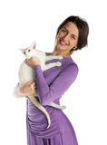 Pretty girl in night dress with cat Stock Photo
