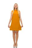 Pretty girl in ocher dress isolated on the white Royalty Free Stock Image