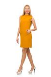 Pretty girl in ocher dress isolated on the white Stock Photography
