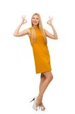 Pretty girl in ocher dress isolated on the white Royalty Free Stock Images