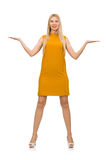 Pretty girl in ocher dress isolated on white Royalty Free Stock Photo
