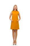 Pretty girl in ocher dress isolated on white Royalty Free Stock Photography