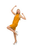Pretty girl in ocher dress isolated on white Stock Photos