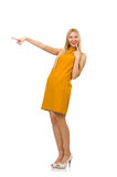 Pretty girl in ocher dress isolated on white Stock Images