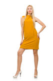 Pretty girl in ocher dress isolated on white Stock Photo