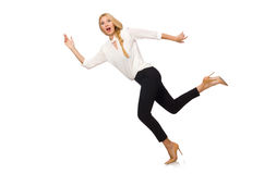 Pretty girl in office attire isolated on white Royalty Free Stock Photos