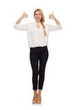 Pretty girl in office attire isolated on white Royalty Free Stock Images