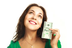 Pretty girl with one hundred dollars Royalty Free Stock Photo