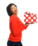 Pretty girl opens her box Stock Photo