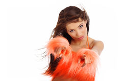 Pretty girl in orange costume Royalty Free Stock Photo