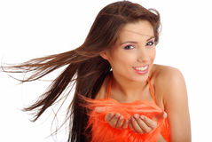 Pretty girl in orange costume Royalty Free Stock Images