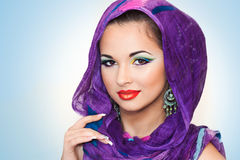 Pretty girl with oriental makeup Stock Images