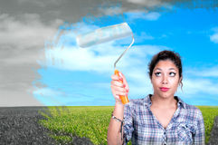 Pretty girl  paint sky Royalty Free Stock Images