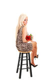 Pretty girl in panther dress sitting. Stock Photos