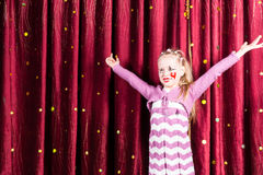Pretty girl in pantomime costume on stage Royalty Free Stock Photos