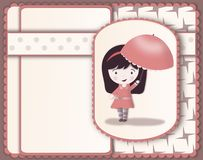 Pretty girl with parasol card-layered image Royalty Free Stock Photos