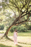 Pretty girl in the park with sunshine day Royalty Free Stock Images