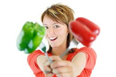 Pretty girl with pepper isolated Royalty Free Stock Photography