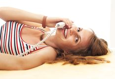Pretty girl with phone Royalty Free Stock Photography