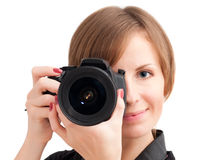 Pretty girl with photo camera Royalty Free Stock Images
