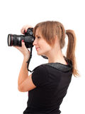 Pretty girl with photo camera Stock Photography