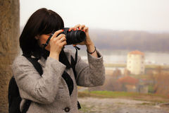 A pretty girl photographer Stock Photography