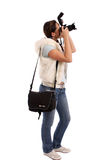 Pretty girl photographing Stock Image