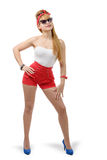 Pretty girl pin-up in shorts on white background Royalty Free Stock Image